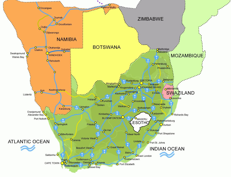 Lesotho On Etela Afrikan Kartta Kartta Chile Ja Etela Afrikka